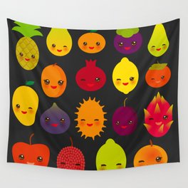 kawaii fruit Pear Mangosteen tangerine pineapple papaya persimmon pomegranate lime Wall Tapestry