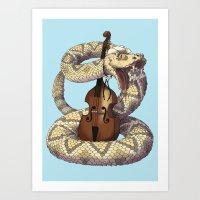 D is for Diamondback Rattlesnake, Western Art Print