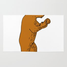 Brown Bear Boxing Stance Drawing Rug