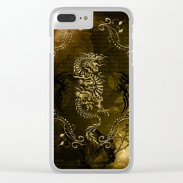 Wonderful golden chinese dragon Clear iPhone Case