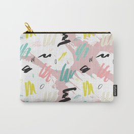 Watercolor white  pink teal abstract memphis brushstrokes Carry-All Pouch