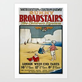 Retro Placard Sunny Broadstairs Art Print