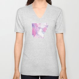 Watercolor State Map - Arkansas AR purple and pinks Unisex V-Neck