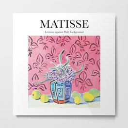 Matisse - Lemons against Pink Background Metal Print