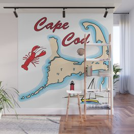 Cape Cod Map with Sailboat, Lighthouse, Lobster, and Shell Wall Mural
