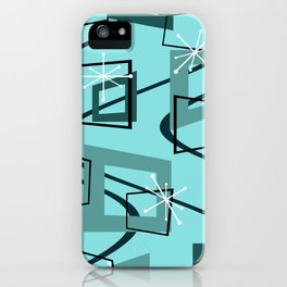Mid Century Modern Minimalism Turquoise iPhone Case