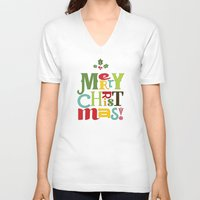 merry christmas V-neck T-shirts featuring Merry Christmas! by Noonday Design