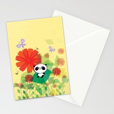 panda and flowers Stationery Cards