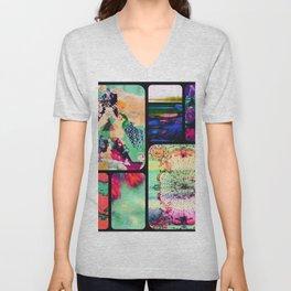 Textured Collage Unisex V-Neck