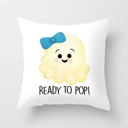 Ready To Pop - Popcorn Blue Bow Throw Pillow
