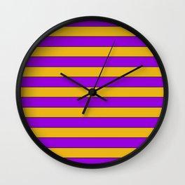 Yellow, purple stripes Wall Clock