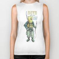 diver Biker Tanks featuring Diver by pakowacz