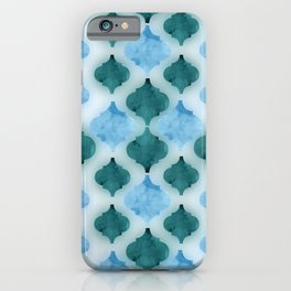 Marbled quatrefoil pattern in shades of blue  iPhone Case
