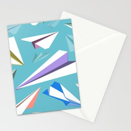 Aeroplanes - Paper Airplanes Pattern Stationery Cards