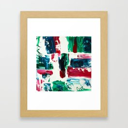 Jingle all the way green blue red white acrylic abstract brushstrokes christmas pattern Framed Art Print
