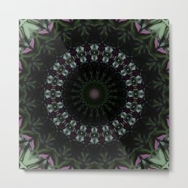 Rose And Jade Geometric  Dark Fantasy Mandala Pattern Metal Print