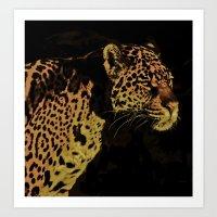 jaguar Art Prints featuring Jaguar by Die Farbenfluesterin