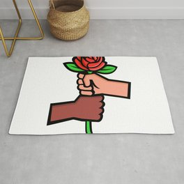 Two Hands Holding Red Rose Mascot Rug