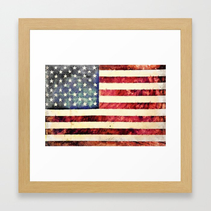 Vintage American Flag Framed Art Print by politics | Society6