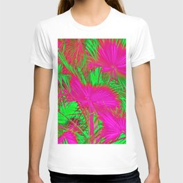 closeup palm leaf texture abstract background in pink and green T-shirt