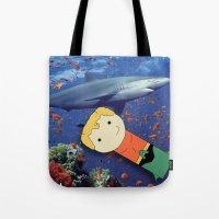aquaman Tote Bags featuring Aquaman Vs. Shark by Jen Talley