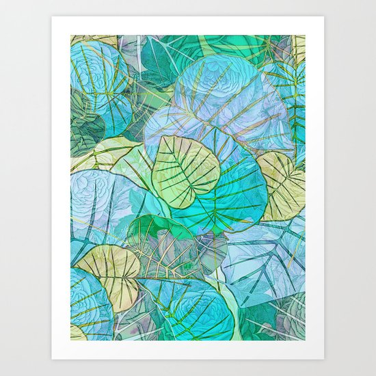 Leaves in Rosy Background 2 Art Print