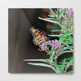 Monarchs Milkweed | oil painting Metal Print