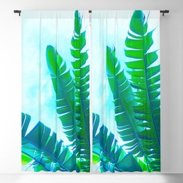 Vibrant Banana Leaves - Tropical Green and blue Blackout Curtain