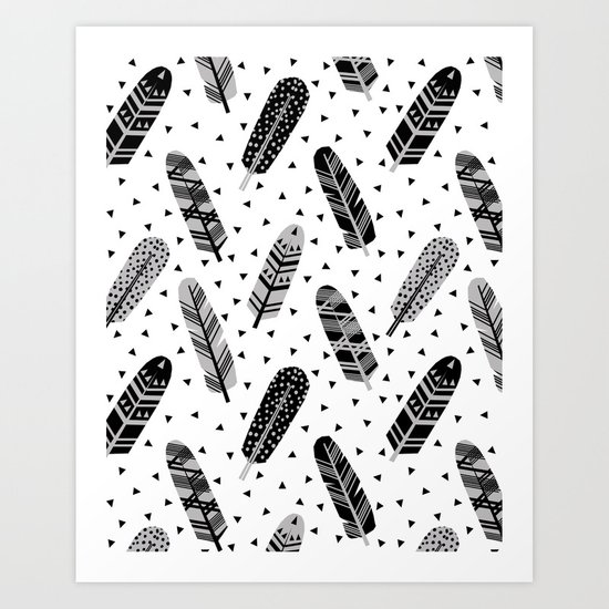Feathers black and white triangle geometric modern trendy hipster boho southwest native style kids Art Print