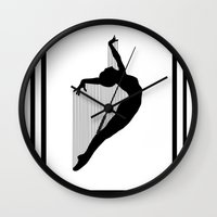 sia Wall Clocks featuring Harp by Kristijan D.