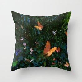 Elegant, Colorful Fantasy Butterflies in Flight Throw Pillow