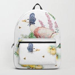 Jemima Puddleduck with chicks vintage Beatrix Potter pattern design Backpack