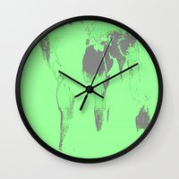 map of the world Wall Clocks featuring World Map : Gall Peters Seafoam Green by 2sweet4words Designs