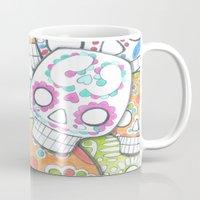 sugar skulls Mugs featuring skulls sugar by wet yeti