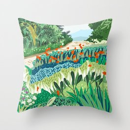 Solo Walk #illustration #nature Throw Pillow