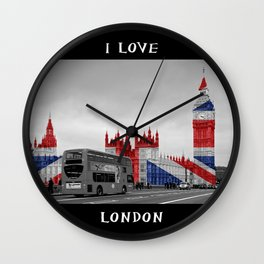 Big Ben, London Bus and Union Jack Flag Wall Clock