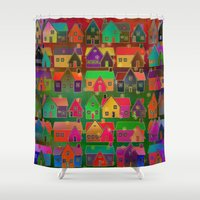 merry christmas Shower Curtains featuring Merry Christmas! by Klara Acel