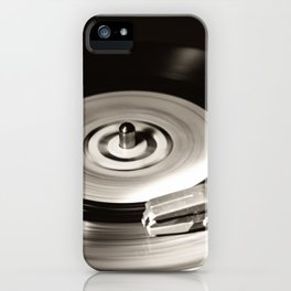 Music From a Vintage 45 RPM Record Playing on a Turntable iPhone Case