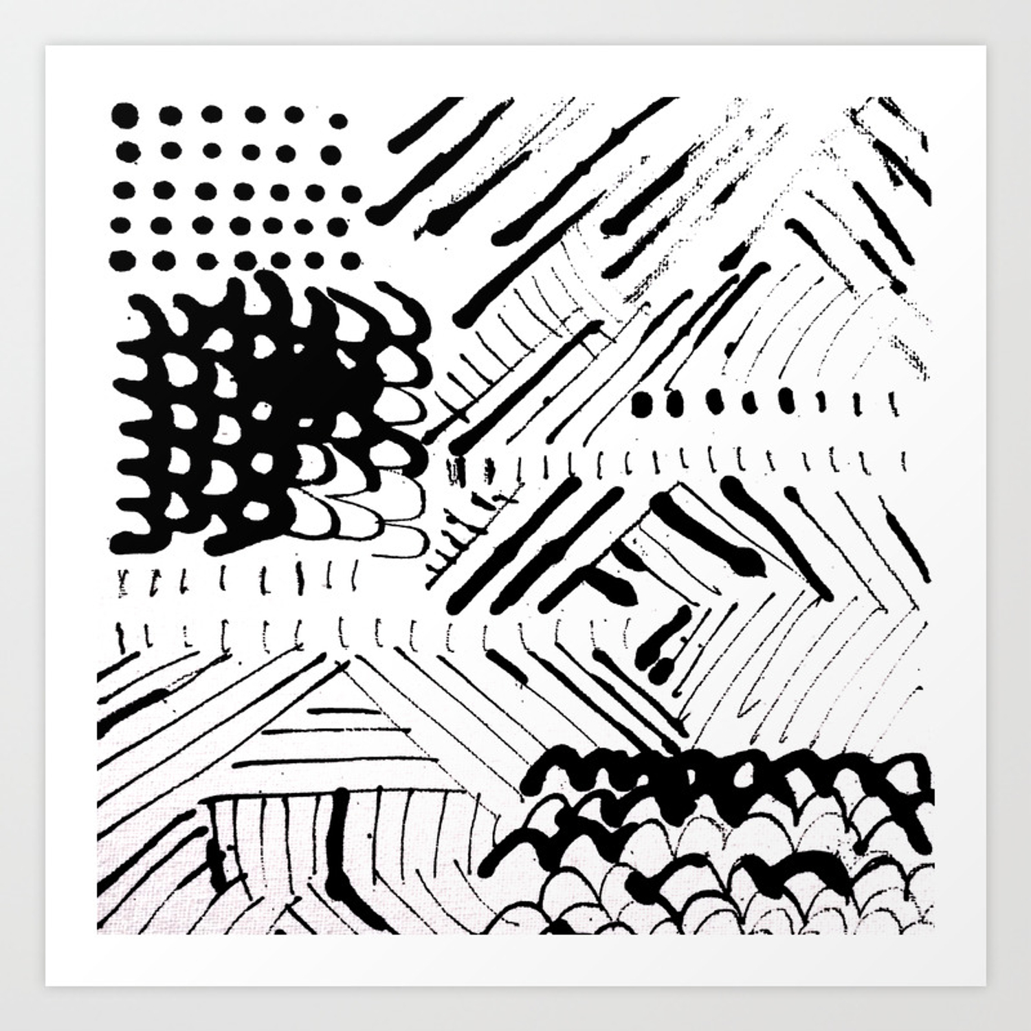 Black And White Ink Abstract Mark Making Pattern Art Print