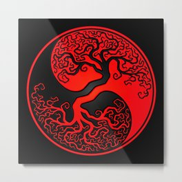 Red and Black Tree of Life Yin Yang Metal Print