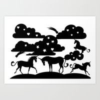 unicorns Art Prints featuring unicorns by Paper cut and Printed with love