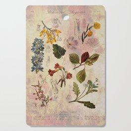 Botanical Study #1, Vintage Botanical Illustration Collage Cutting Board