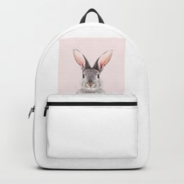 Baby Rabbit, Grey Bunny With Pink Background, Baby Animals Art Print By Synplus Backpack