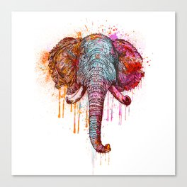 Watercolor Elephant Head Canvas Print