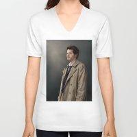 castiel V-neck T-shirts featuring Castiel by San Fernandez