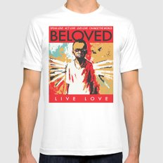 Beloved - Live Love White MEDIUM Mens Fitted Tee