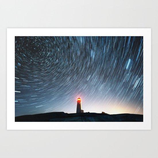 Lighthouse in the Stars Art Print