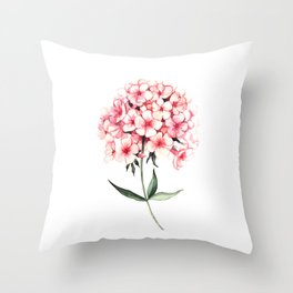 Watercolor flower phlox Throw Pillow