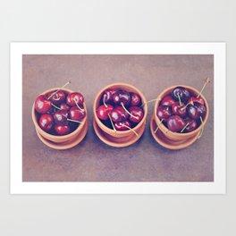 Cherries in Terra Cotta Pots Art Print