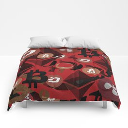 Crypto currency money pink pattern Comforters